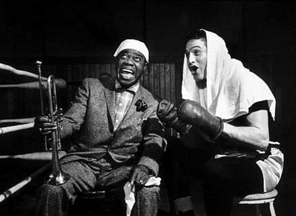 Louis Armstrong and Paul Newman on the set of Somebody Up There Likes Me.