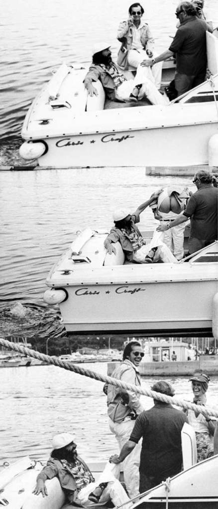 Jack Nicholson mooning in St. Tropez, 1976.