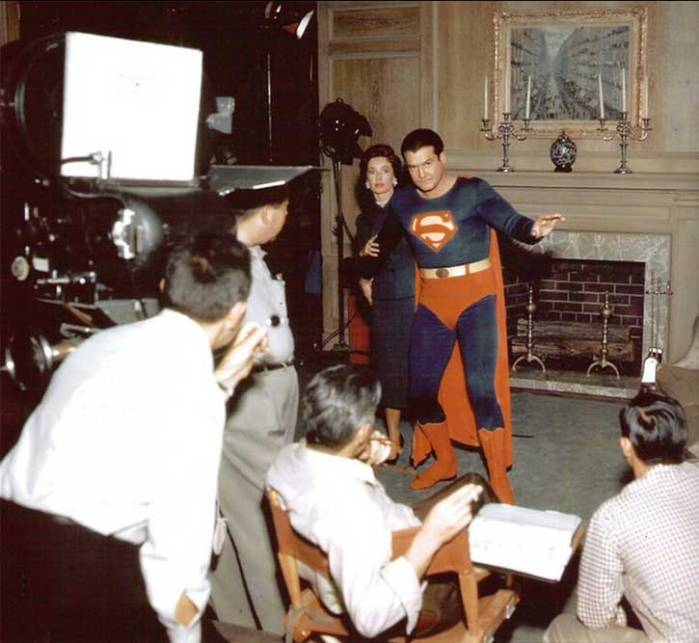 George Reeves and Noel Neill on the set Adventures of Superman, 1956.