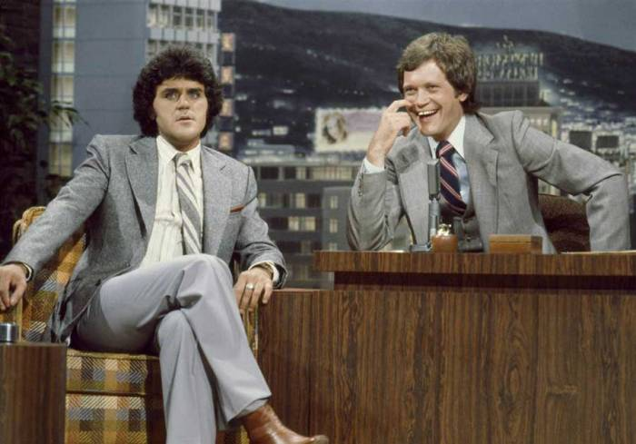Jay Leno being a guest on The Tonight Show when David Letterman was guest hosting for Johnny Carson on July 4, 1979.