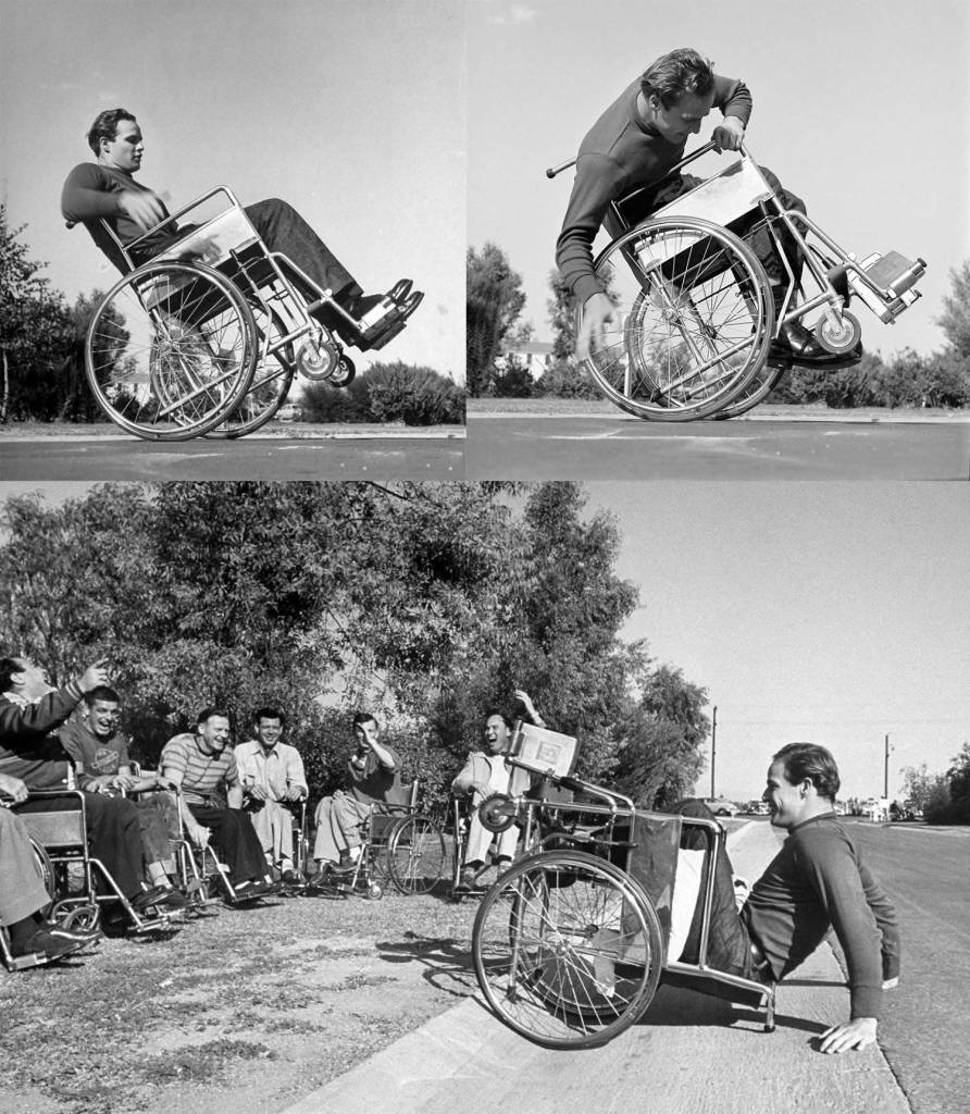 Marlon Brando practicing his wheelchair technique for his role as a disabled veteran in the movie The Men.