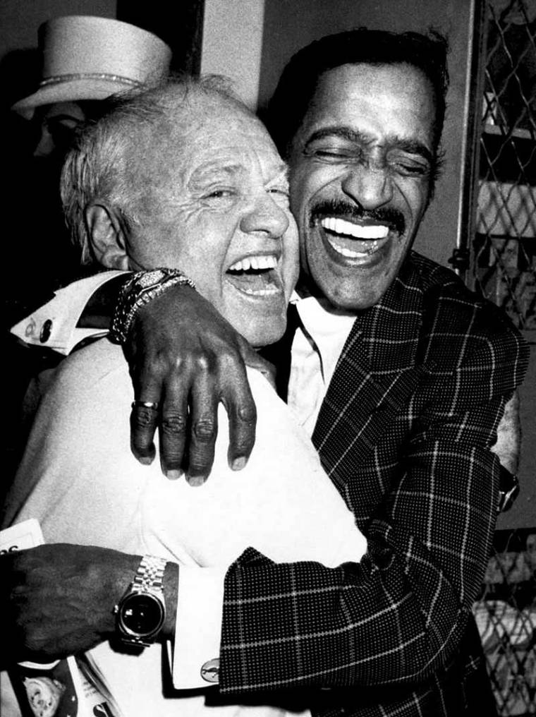 Mickey Rooney and Sammy Davis Jr. backstage at Sugar Daddies on Broadway, 1981.