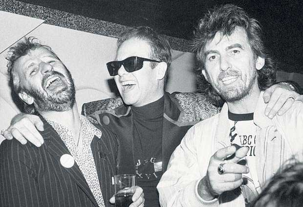 Ringo Starr, Elton John and George Harrison.
