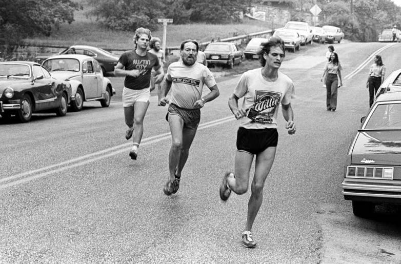 Willie Nelson running a 5K race (Stehlin Foundation Cancer Benefit  - Run For Your Life) in Austin, Texas, 1977.