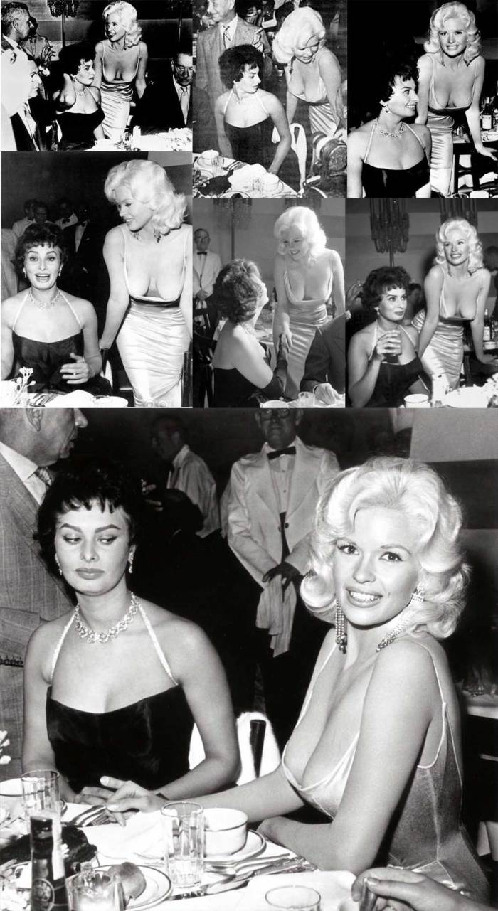 You've probably all seen the iconic photo of Sophia Loren and Jayne Mansfield, but here are some more pics from the same occasion that you might not have seen.